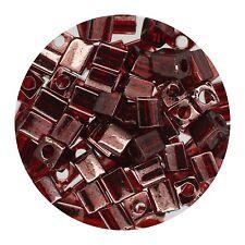 Square Glass Beads Japan 4mm Miyuki Cube Gold Luster Transparent Dark Red