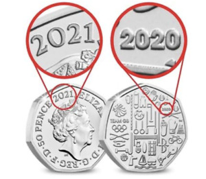 2021 DUAL DATED Tokyo Olympics Team GB 50p coin  Brilliant Unc Fifty Pence