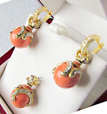 SALE ! GORGEOUS MADE OF STERLING SILVER EARRINGS & PENDANT SET GENUINE CORAL