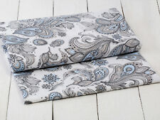 0,5 M Cotton Satin Fabric Vintage with Paisley Pattern Blue Grey on White