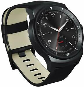 "LG G Watch R Android Wear Leather Smartwatch 1.3"" P-OLED Display BLACK"
