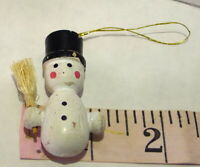 Miniature Snowman Wooden Ornament Christmas vintage 1990s imperfect