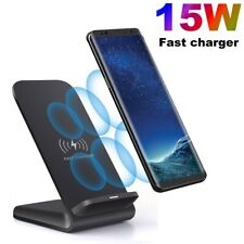 US 15W Fast Qi Wireless Charger Dock Stand For iPhone 11 XS 8 Samsung S20 S10 S9