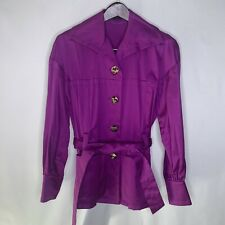 Escada Short Jacket Button Front Belted Button Purple Collar Coat Womens 34/4 S