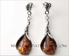 Fabulous Genuine Cognac Baltic Amber 925 Sterling Silver Stud Earrings