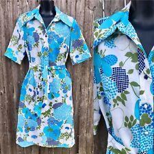 Vintage 1960s Shirt Dress Blue Green Floral Medium Acetate Flower Power Mod