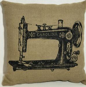 Burlap Large Throw Pillow-Vintage Sewing Machine Carolina-Jute-NWT-MSRP $36.95