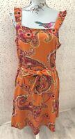 NEW Dorothy Perkins Orange Summer Paisley Print Fit & Flare Tie Belt Dress UK 14