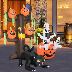 Halloween Decoration 2.4m Inflatable Ghost Tree with Pumpkins and 6 LED