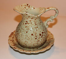 Brown Speckled Ceramic Pitcher Set – Countryside Collection by Flambro Imports