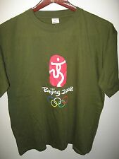 Beijing China Summer Olympics Games 2008 Olympic Rings Sports Khaki T Shirt XXL