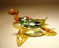 Blown Glass Figurine Animal Ocean Creature Green and Amber Sea TURTLE