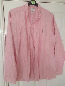 Mens Next Pink & White Shirt Size XL Slim Fit Long Sleeve