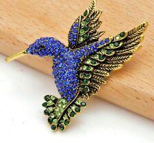 Elegant Deluxe Handcrafted Rhinestone Blue Green Brooch Pin - Hummingbird