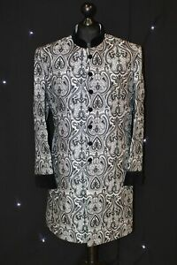 Silver and Black Brocade Sherwani UK Seller