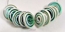 ROA Lampwork 10 Ivory & Aqua Marbled Handmade USA Disc Art Glass Beads SRA