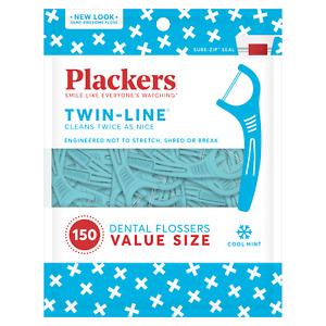 Plackers Twin Line Zahnseide 150 Zahnseide Zahnstocher kühle Minze