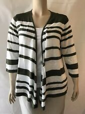 CJ Banks Women's Open Front Cardigan Sweater Size 1X Green and White Stripe