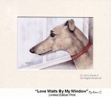 Greyhound  Fawn Love Waits By My Window Signed Art Print NEW Kevin Z Arttogo