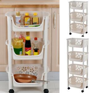 Kitchen Cart 3/4 Tier Fruit Vegetable Basket Storage Rack Shower Holder on Wheel