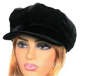 Womens Baker Boy Hat BLACK Faux Velvet Ladies Newsboy Cap Quality