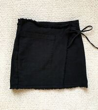 Splendid Black Vintage Faded Denim Wrap Mini Skirt Size S