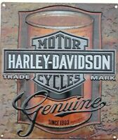 HARLEY DAVIDSON METAL TIN SIGN MOTORCYCLE GENUINE 1903 GARAGE WALL DECOR