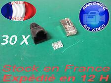 rj 45 Cat 6 avec peignes et capuchons noir fiches plug prise connecteur X 30