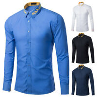 New Men's Casual Shirts Long Sleeve Party Wedding Business Formal Dress Shirts