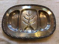 """New listing Vintage Large Silverplate Metal 3 Section Serving Tray Platter-Leaf Design-20.5"""""""