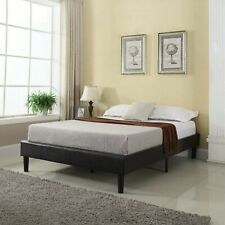 Modern Espresso Brown Bonded Leather Twin Size Platform Bed with Wooden Slat