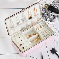 Portable Travel Jewellery Box Organizer Leather Ornaments Display Case Storage
