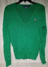 Ralph Lauren Sport Women's M Green Cable Knit V-Neck Pullover Sweater #19