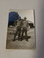 Vintage Military Snapshot Black & White Photo - 2 Men In Uniform With Helmets