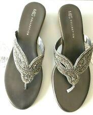 Ladies Sandals M&S Pewter Slip On Jewel Mules UK 8 42 US 10 BNWT Marks Women