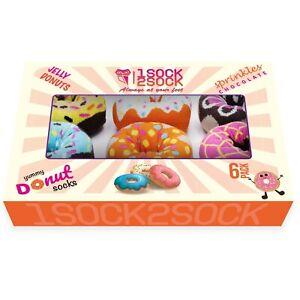 1SOCK2SOCK Women Donut Socks Colorful Cotton Crew Medium Size Birthday Gift Box