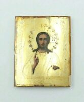 Antique 19c Hand Painted Gold Plated Wood Icon Jesus Christ Pantocrator