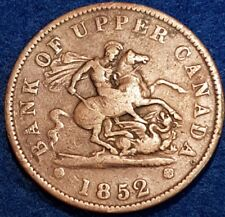 1852 Bank Of Upper Canada Penny Token   ID #A10-30