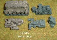 WWII SUPPLY DUMP (STACKS OF OIL DRUMS AND AMMO CRATES) RESIN KIT -  20MM - MS5