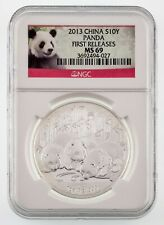 2013 China 1 Oz. Silver Panda S10Y Graded by NGC as MS-69 First Releases