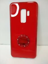 New Case - Samsung Galaxy S9+ Tempered Glass Bling Ring Kickstand Case - Red