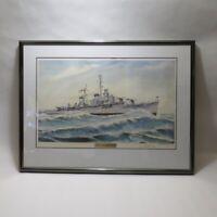 Framed Signed 1993 Herb Hewitt USS Newman K Perry DD-883 Lithograph Print 16/300