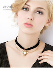 Love Heart Pendant Gold Chain Necklace Black Choker Fashion Women Jewellery
