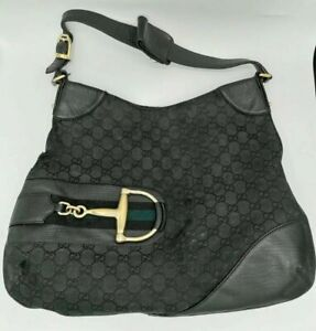 Gucci Black Canvas Leather Hasler Hobo Handbag