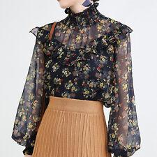 Korean Style Women High Neck Floral Print Blouse Ruffles Long Sleeve Top Spring