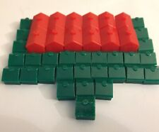 Monopoly Replacement 28 Green Houses & 12 Red Hotels from Hasbro 1998 Game