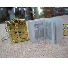 Mini English Holy Bible Religious Christian Jesus Keychain Key Ring Keyfob Easy H02(gold)