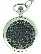 Solid Pewter Fronted Quartz Celtic Never Ending Knot Pocket Watch