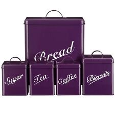 5 Piece Canister Set Purple Bread Bin Sugar Coffee Tea Biscuits By Home Discount