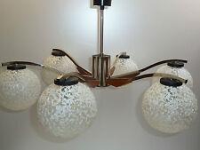 60er 70er Jahre PENDELLAMPE  LEUCHTER  Chrom Teak 60s 70s chandelier chrome